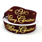 """Velvet and Gold Embossed """"Merry Christmas"""" Wired Ribbon, 7/8-Inch, 10-Yard"""
