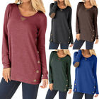 Womens Long Sleeve Tunic Tops Elbow Patch Pullover Sweatshirt T Shirt Blouse US