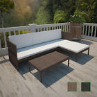 Patio Rattan & Wicker Lounge Set W/ 3-seater Sofa Garden Furniture Black/brown