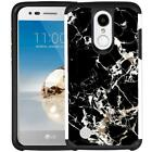 For LG Phoenix 4/3 LG Rebel 4/3 Marble Design Phone Case Hybrid Dual Layer Cover