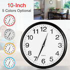 10'' Silent Wall Clock Modern Non-ticking Round Quartz Battery Operated Office