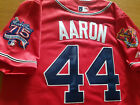 Brand New Majestic Hank Aaron Atlanta Braves #44 DUAL Patch stitched Jersey RED on Ebay