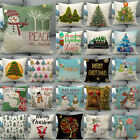 Cojines Christmas Tree Ball Cushion Cover Woven Linen Family Snowman Pillow Case image