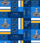 St. Louis Blues Stanley Cup Champions Block Cotton Fabric By the Yard $12.95 USD on eBay