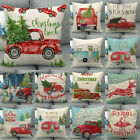 "18"" Linen Cojines Xmas Truck Cushion Cover Christmas Tree Decoration Pillow Case"