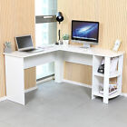 L-shaped Computer Desk Corner PC Table Workstation Home Office Study w/ Shelves