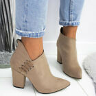 Womens Chunky Block Heel Ankle Boots Ladies Winter Zip Up Booties Shoes Size 4-7