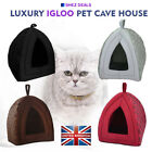 UK Pet Cat Dogs Indoor Houses Fleece Igloo Soft Warm Luxury Washable Bed Puppies