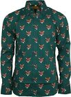Run & Fly Mens Retro Fox Head Printed Long Sleeve Shirt 60s 70s Vintage
