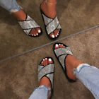 Womens Ladies Diamante Flat Sliders Slippers Slip On Summer Sandals Flip Flops