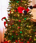 Stuck in the Tree Christmas Holiday Decor Elf or Santa Legs Feet Humorous Unique