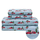 Holiday Microfiber Bedding Sheet Set Christmas Tree Truck Red White, and Blue image