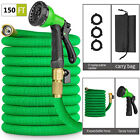 150ft Garden Hose Expandable Water Hose Solid Brass Extra Strength Fabric 4pcs