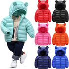 Kids Toddler Baby Boy Girl Winter Hooded Coat Jacket Quilted Padded Warm Outwear