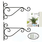 2pcs Iron Hanging Basket Indoor Outdoor Garden Plant Hanger Hook Wall Bracket US