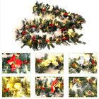 Christmas 220 Tips Garland Pre-Lit Pine Cone Berry with 50 Warm White LED Lights