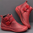 Womens Casual Flat PU Leather Strap Boots Round Toe Riding Shoes Ankle Boots US