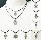 Vintage Punk Boho Necklace Black Rope Chain & Pendant Womens Mens Jewellery