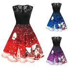 Womens Christmas Lace Swing Dress Xmas Party Ladies Sleeveless Midi Skater Dress