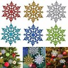 6/12pcs Glitter Snowflake Christmas Ornaments Xmas Tree Hanging Home Decoration