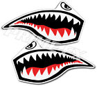 Flying Tigers Shark Teeth P-40 Warhawk WW2 Vinyl Decal Stickers 1 Pair