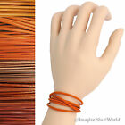 Orange Leather Cord Multi Wrap Bracelet Custom Handmade 72 inches USA necklace