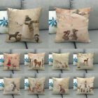 Christmas Present Linen Square Throw Flax Pillow Case Decorative Cushion Cover