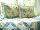 J.C. PENNEY Yellow Blue FLORAL Full Double Quilt + 2 Shams RUFFED EDGE + Valance