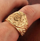 Men- Gold Wave-Masonic-Ring-Stainless Steel- GSC-Italian Carved-Size 7-15