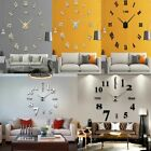 Modern DIY Large Wall Clock 3D Mirror Surface Sticker Home Decor Art Design US
