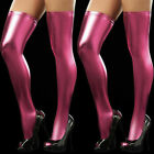 US Women's Wet Look PU Lingerie Leather Thigh High Stockings Stay-Up Leggings