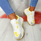 NEW WOMENS LADIES LACE UP CHUNKY TRAINERS SNEAKERS SPORTS GYM PLIMSOLLS SHOES