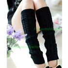 Women Leg Warmers Crochet Knit Ribbed Knee High Solid Winter Boot Wool Sock Long