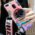 For iPhone XS Max XR 7 8 6S + 3D Camera Airbag Stand Holder Crossbody Strap Case