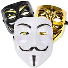 Halloween Hacker Anonymous Vendetta V Guy Fawkes Face Mask - White Black Gold