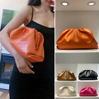 Small Large Croc Ruched Real Leather Clutch Pouch Shoulder Bag Crossbody Purse