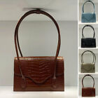 Croc Emboss Vintage Real Leather Shoulder Bag Purse Baguette Envelope Rectangle