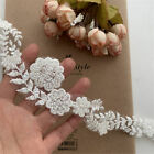 Wonderfully Ivory Flower embroidery Beaded Lace Trim for Bridal Veil Cord Lace