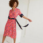 Oliver Bonas Floral Wrap Knee Length Dress in Pink and Navy Blue Sizes 6 to 16