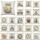 Spring Season's Linen Sofa Throw Cushion Cover Easter Rabbit Eggs Pillow Case