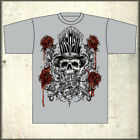 Archaic Affliction Gravest Show Skull Top Hat Roses Mens T-Shirt Grey NEW S 2XL