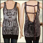 Salvage Viper Straps Punk Rock Goth Moto Womens Long Knit Tank Top Black Burnout