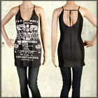 Salvage Fatal Hour Eagle Bombs Metal Stud Women Halter Tank Top Dress Black XS-L