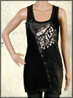 Salvage Donnington Prowlers Wolf Corset Ties Womens Long Tank Top Dress Black L