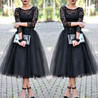 Women Long Lace Tutu Dress Lady Party Bridesmaid Wedding Gown Evening Dresses US