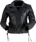 Z1R Women's Forge Leather Motorcycle Jacket BLACK