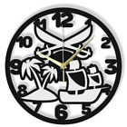 Wall Clock Pirate Sword Ship Gift Silent Non-Ticking Ply Wood Black White 167