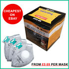 100 X FFP3 Mask Dust Face Masks Fold Flat Valved Asbestos Respirator Disposable