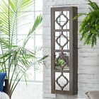 modern geometric wood lighted wall mount jewelry amoire cabinet storage For Sale - 21