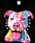 Neon Pit Bull Dog Design - Adult Short Sleeve Black T-Shirt - 100% cotton
